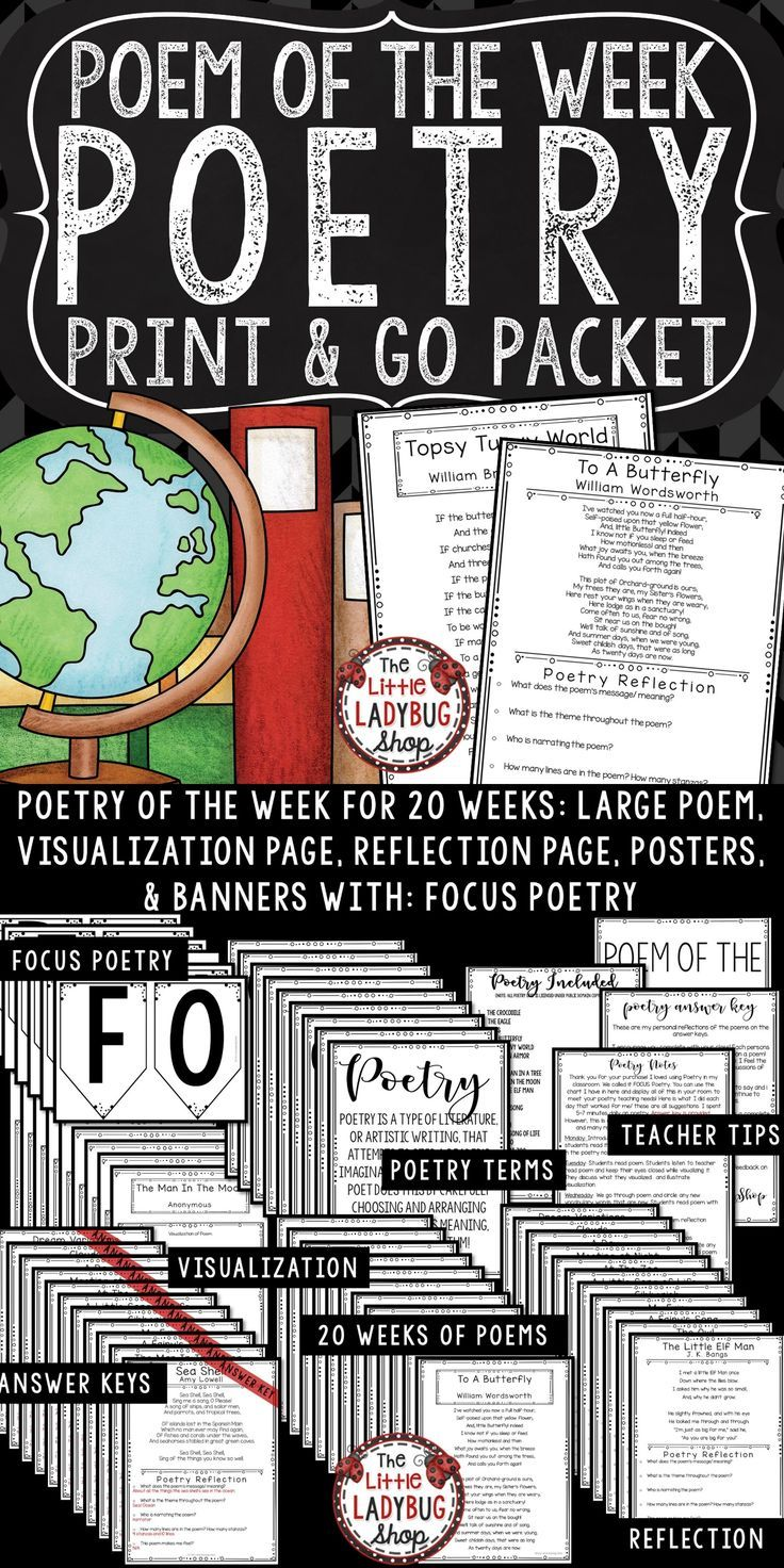 You will love using this Poem of the Week Packet that is perfect for Third Grade, Fourth Grade, Fifth Grade, Sixth Grade. This is Set #3. This set is a complete way to get you set up to begin this study in your Classroom. This is the Poetry Unit to go along with my other Poem of the Week Unit. This format is a consistent way to teach your students traditional poetry. This NO PREP Poetry of the Week is a wonderful component to add to your ELA class! Poetry Analysis FOCUS POETRY