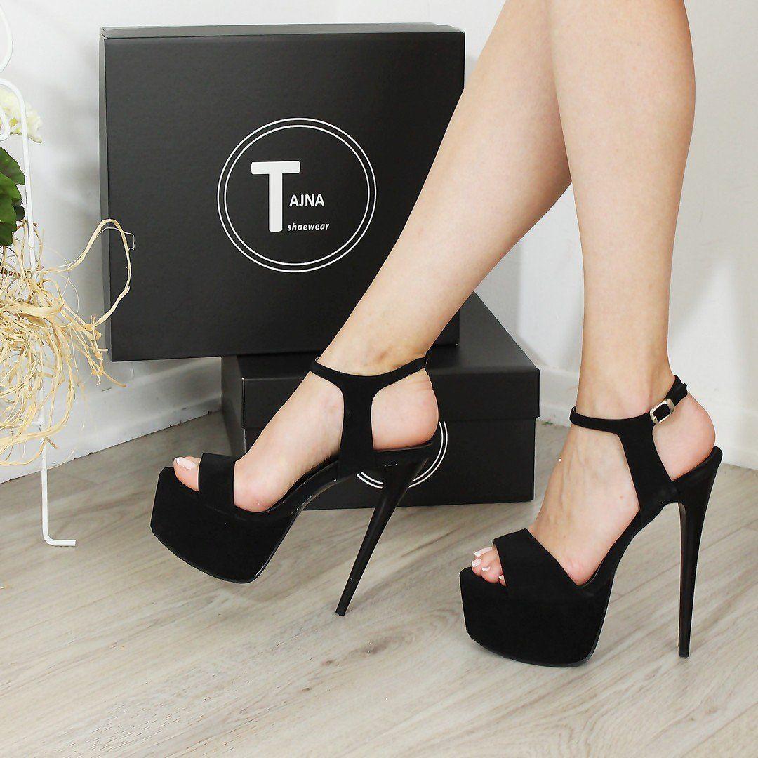 Strap Black Faux Suede High Heel Shoes