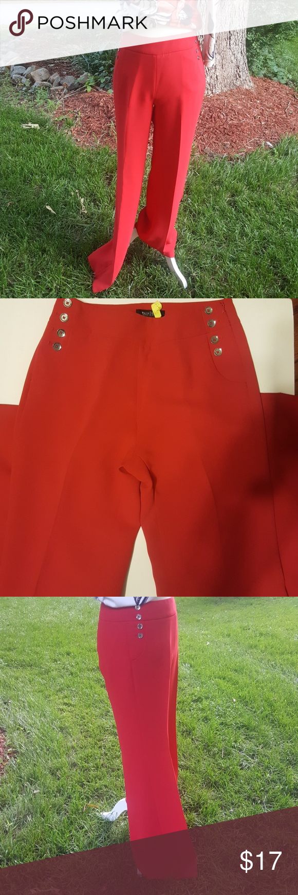 WHBM red pants WHBM fashion flare pants.  Excellent condition.   100% polyester.  Bundle all WHBM items and send for private offer.  Dry cleaned and ready to go! Pants Boot Cut & Flare