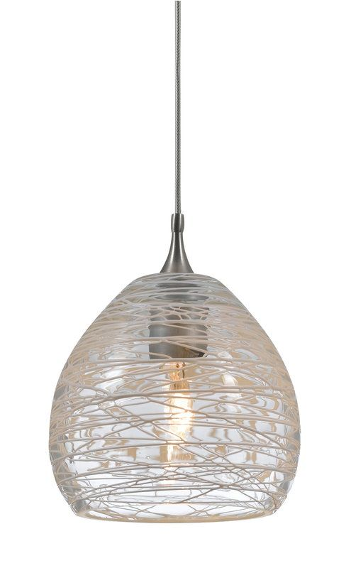 Buy the cal lighting pnl 1063 6 bs clear direct shop for the cal lighting pnl 1063 6 bs clear 1 light mini pendant with spun web patterned shade and save