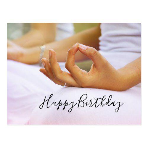 Yoga Happy Birthday Card Fold the index finger   Zazzle ...
