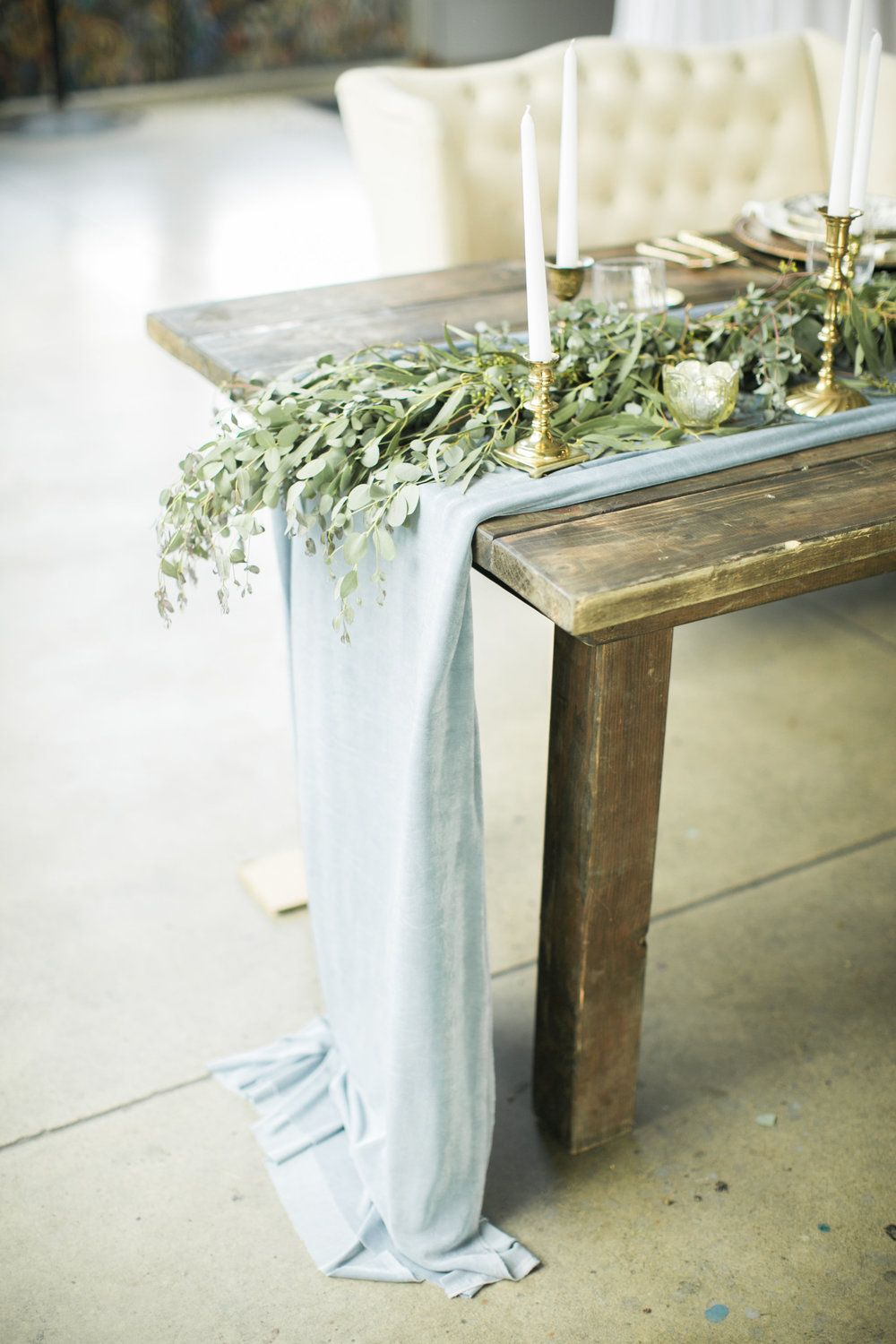 Dusty Blue Table Runner   Wedding Sweetheart Harvest Table