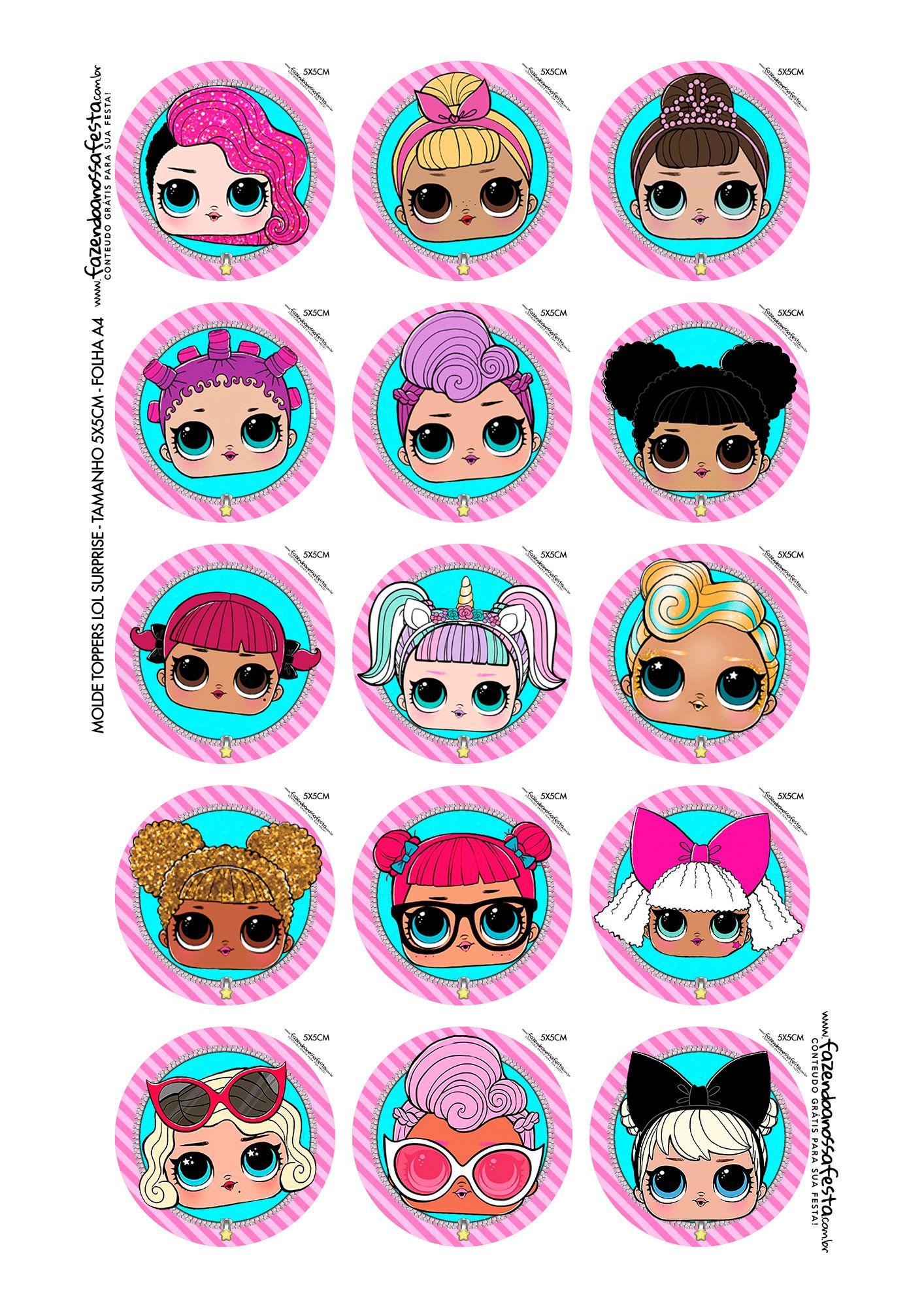 Toppers Lol Surprise 3 totalmente grátis, pronto para personalizar e imprimir em casa.