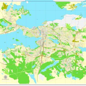 Vector Map Tampere Finland printable vector street map City Plan