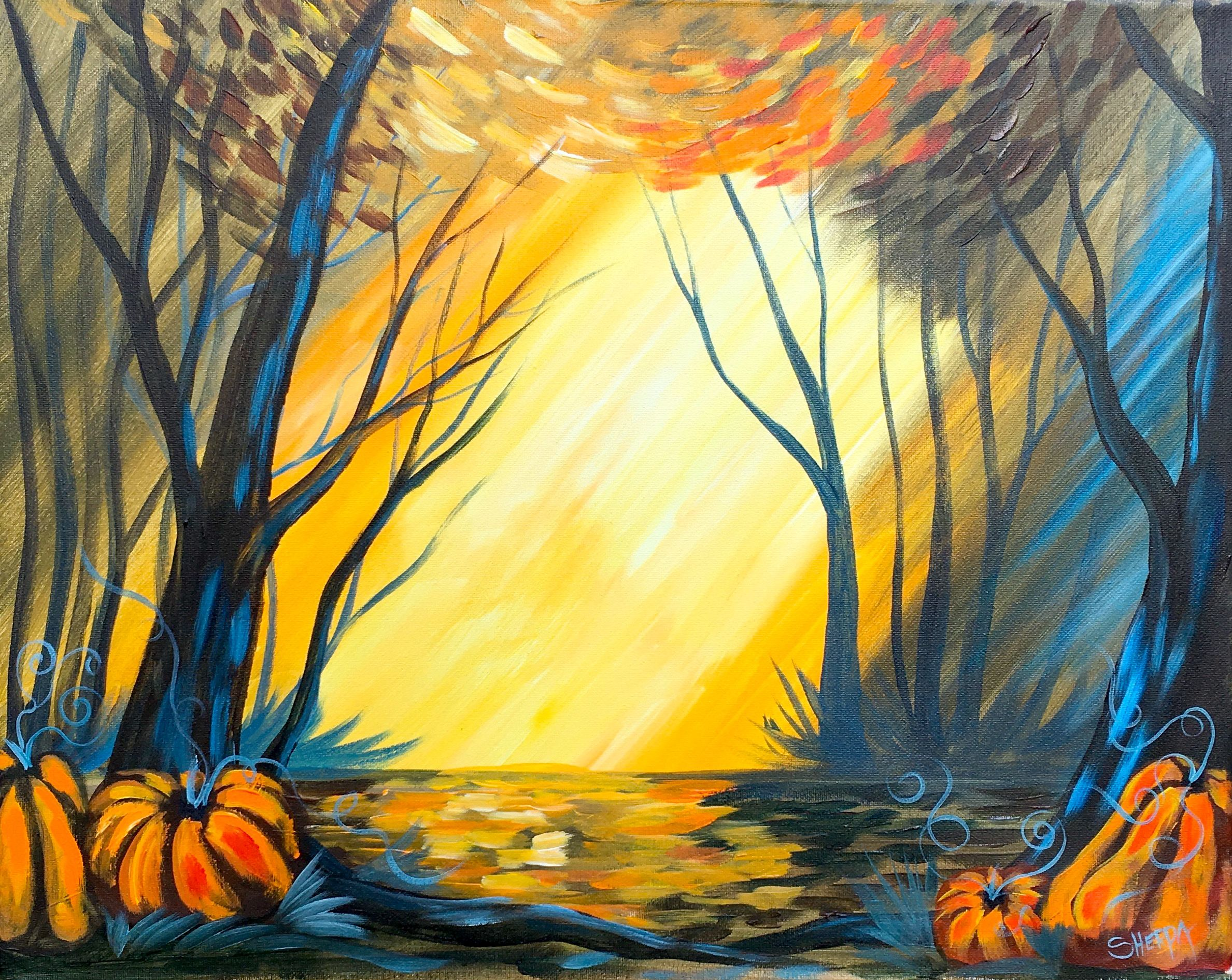 Fall Forest Landscape painting tutorial by The Art Sherpa for Youtube.  Follow