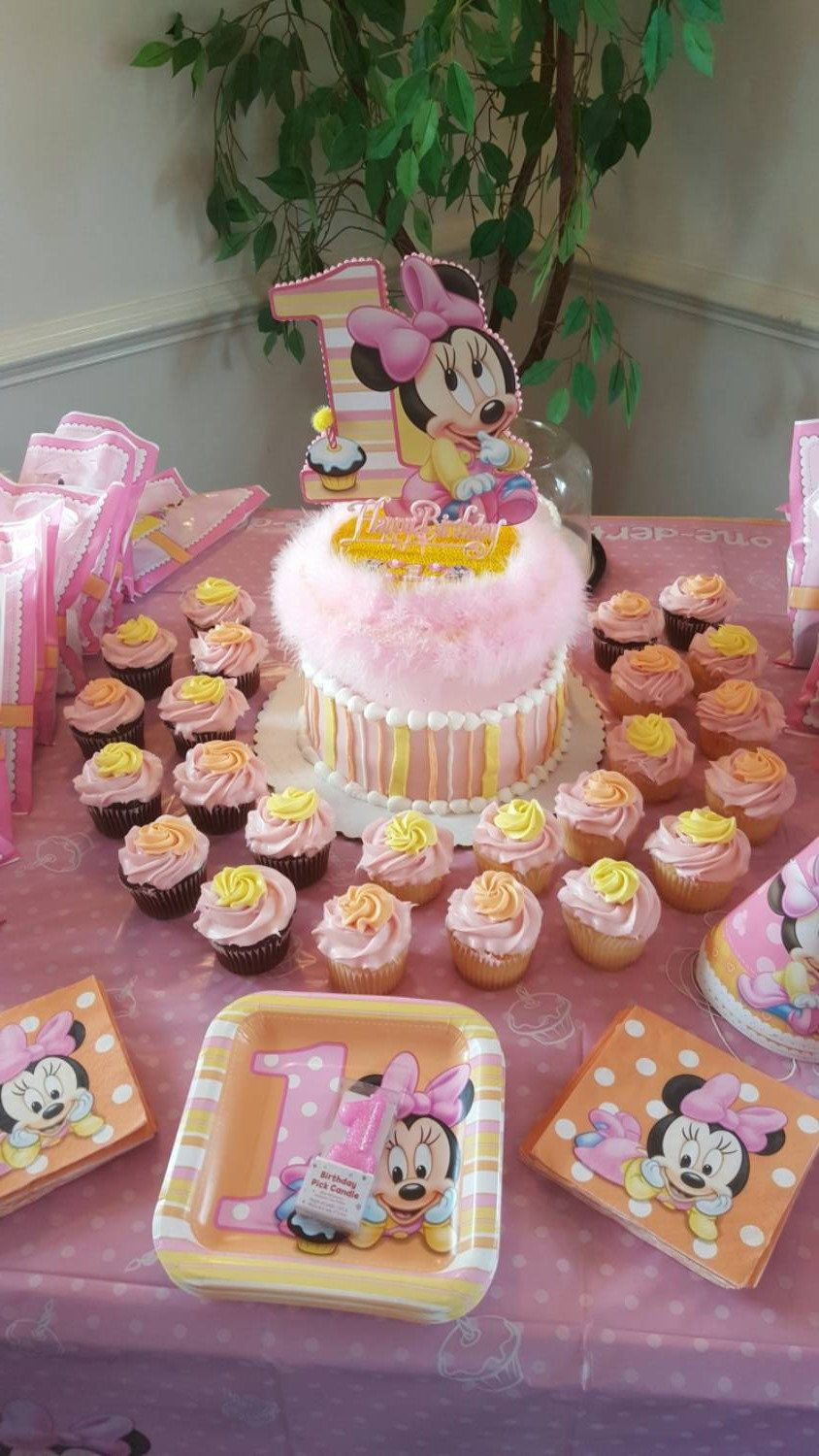 Baby Minnie 1st First Birthday Cake Topper Or Centerpiece Etsy First Birthday Cake Topper Birthday Cake Toppers Minnie Mouse Cake Topper