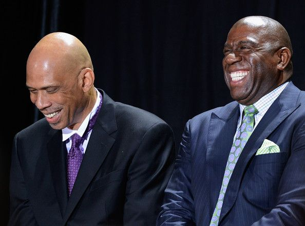 Kareem Abdul Jabbar And Magic Johnson A Great Duo On The Floor As Lakers And Still Friends Today Kareem Abdul Jabbar Magic Johnson Kareem