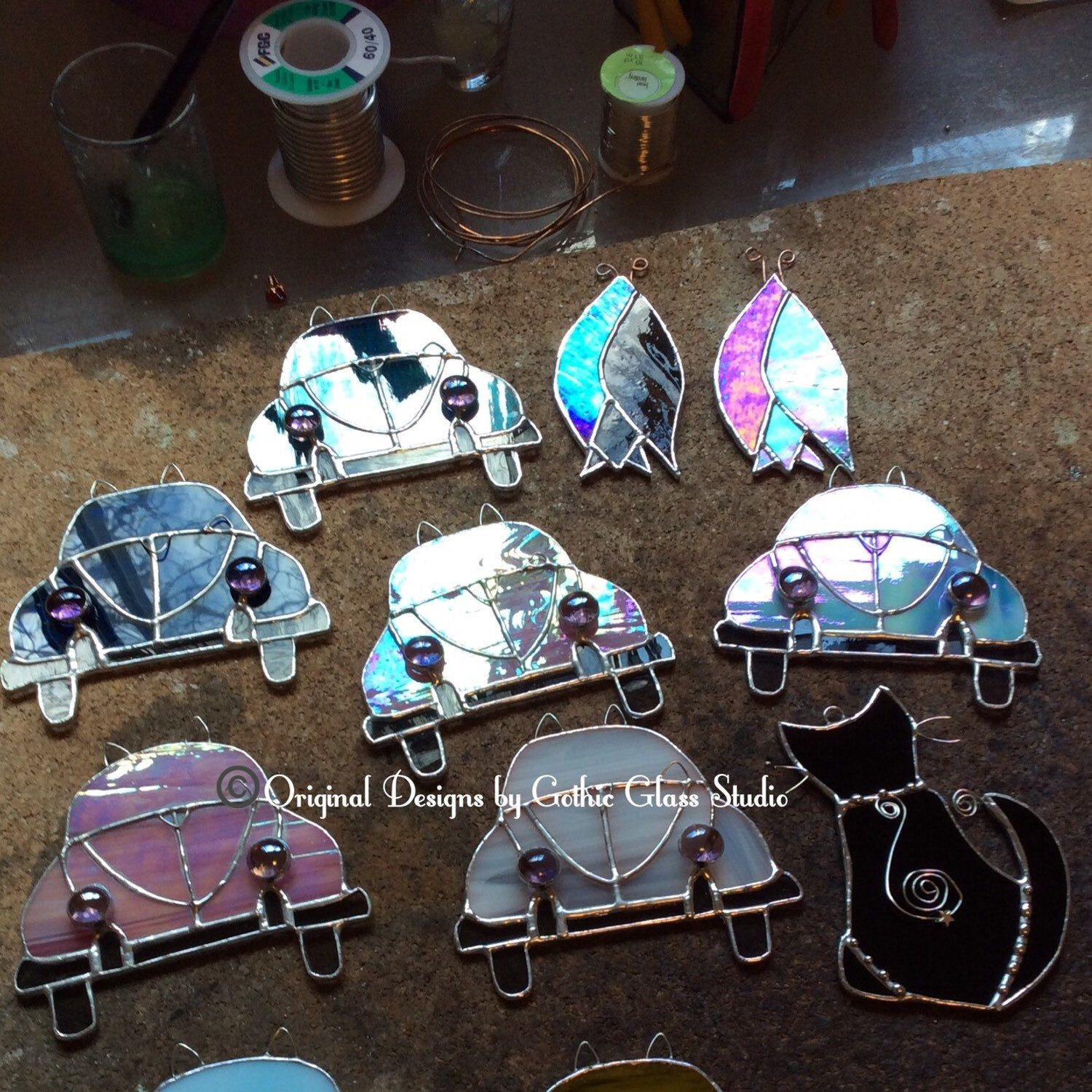 Originally designed stained glass Volkswagen Beetle & cat