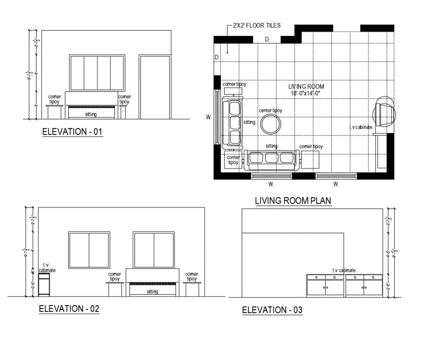 Living Room Plan Elevation Detail Of A House Dwg File Living Room Plan Room Planning Floor Plans
