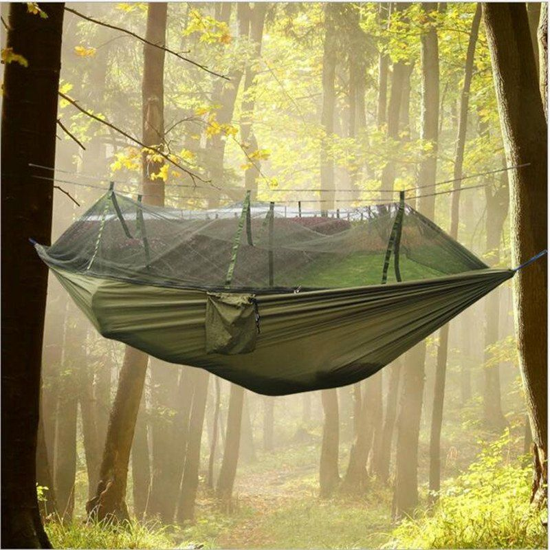 Portable hammock one person garden tent Folded Into The Pouch Mosquito Net Hanging Bed For Travel Kits Camping Hiking Hunt