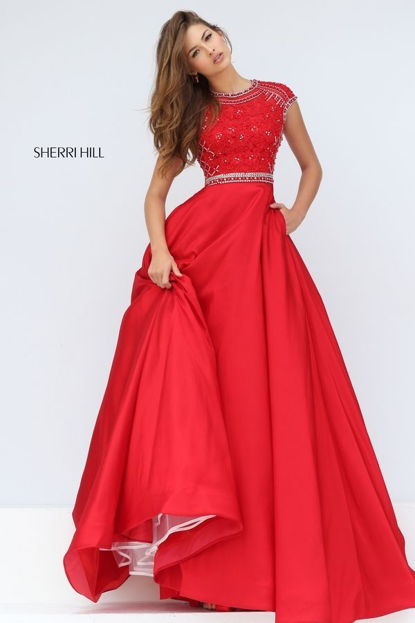Tarik Ediz 92646 Bateau Neckline Sheer Bodice Satin Skirt | Red ball ...