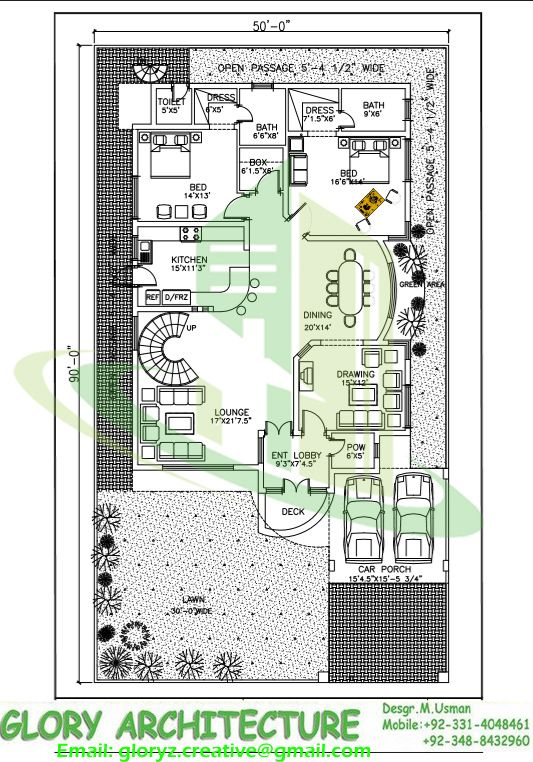 House Map Design Part - 25: 50x90 House Plan