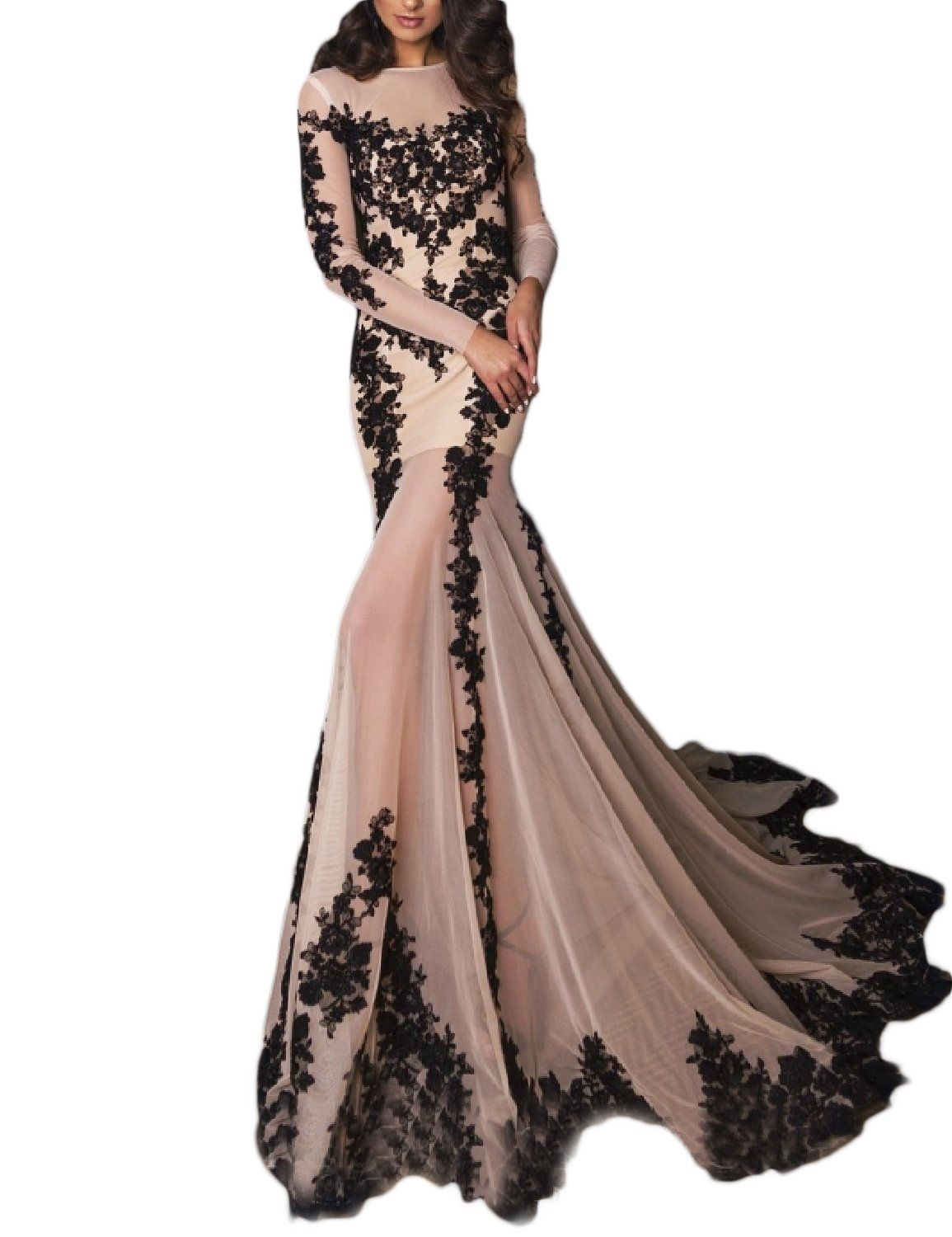 21e6bf39200 OYISHA Womens Long Sleeve Mermaid Wedding Evening Gown Appliqued Party Dress  EV5 Nude Black 16