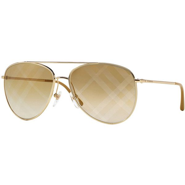 fdba93403c72 Burberry Check-Print Aviator Sunglasses ($270) ❤ liked on Polyvore  featuring accessories, eyewear, sunglasses, gold, metal frame glasses, gold  sunglasses, ...