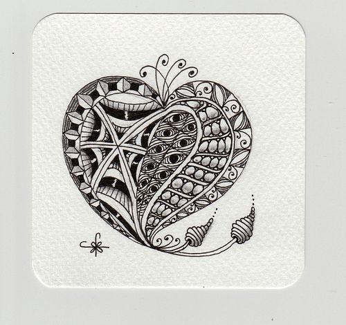 Tile For An Anniversary Card Zentangle Patterns Zentangle Artwork Cards