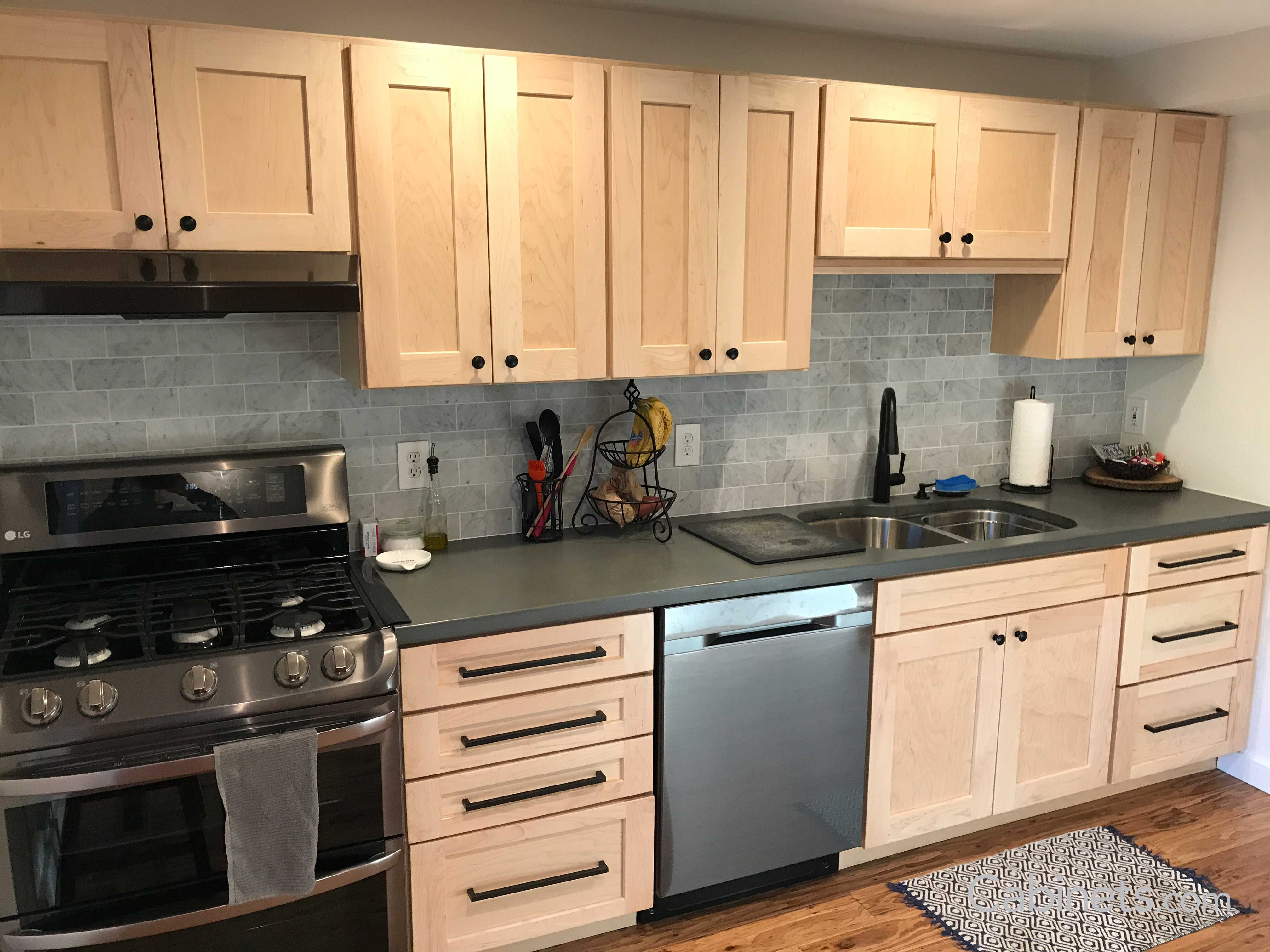 Rustic Shaker Natural Kitchen With Tiger Wood Flooring Cabinets Com Maple Kitchen Cabinets Birch Kitchen Cabinets Kitchen Remodel Small