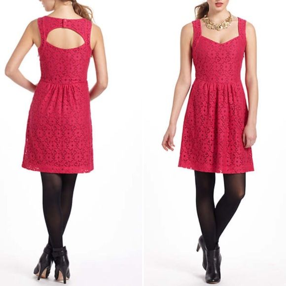 Stunning Anthropologie lace dress New with tags @ $138!!! Brand is Deletta. Great for summer! Such an essential for every closet! Pink lace is beautiful! Anthropologie Dresses