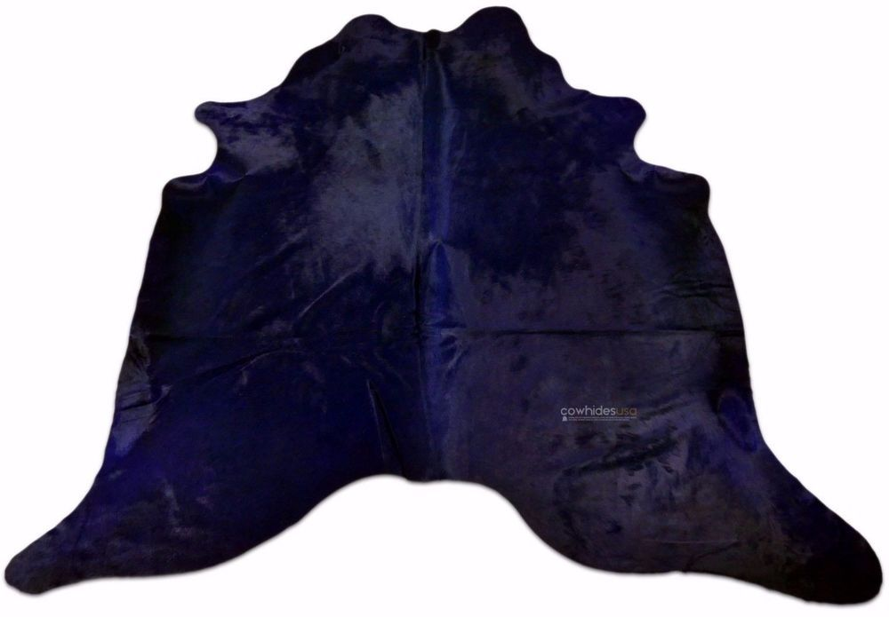 Navy Blue Cowhide Rug Size: 7 X 7 ft Navy Blue Dyed Cow Hide Skin Rug i-875 #cowhidesusa #Country