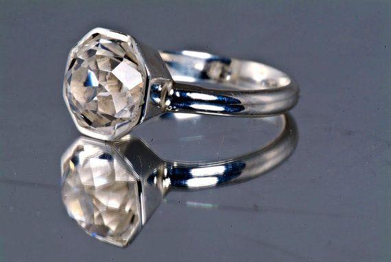 6 Carat White Topaz Rose Petal Cut Diamond Unique Engagement