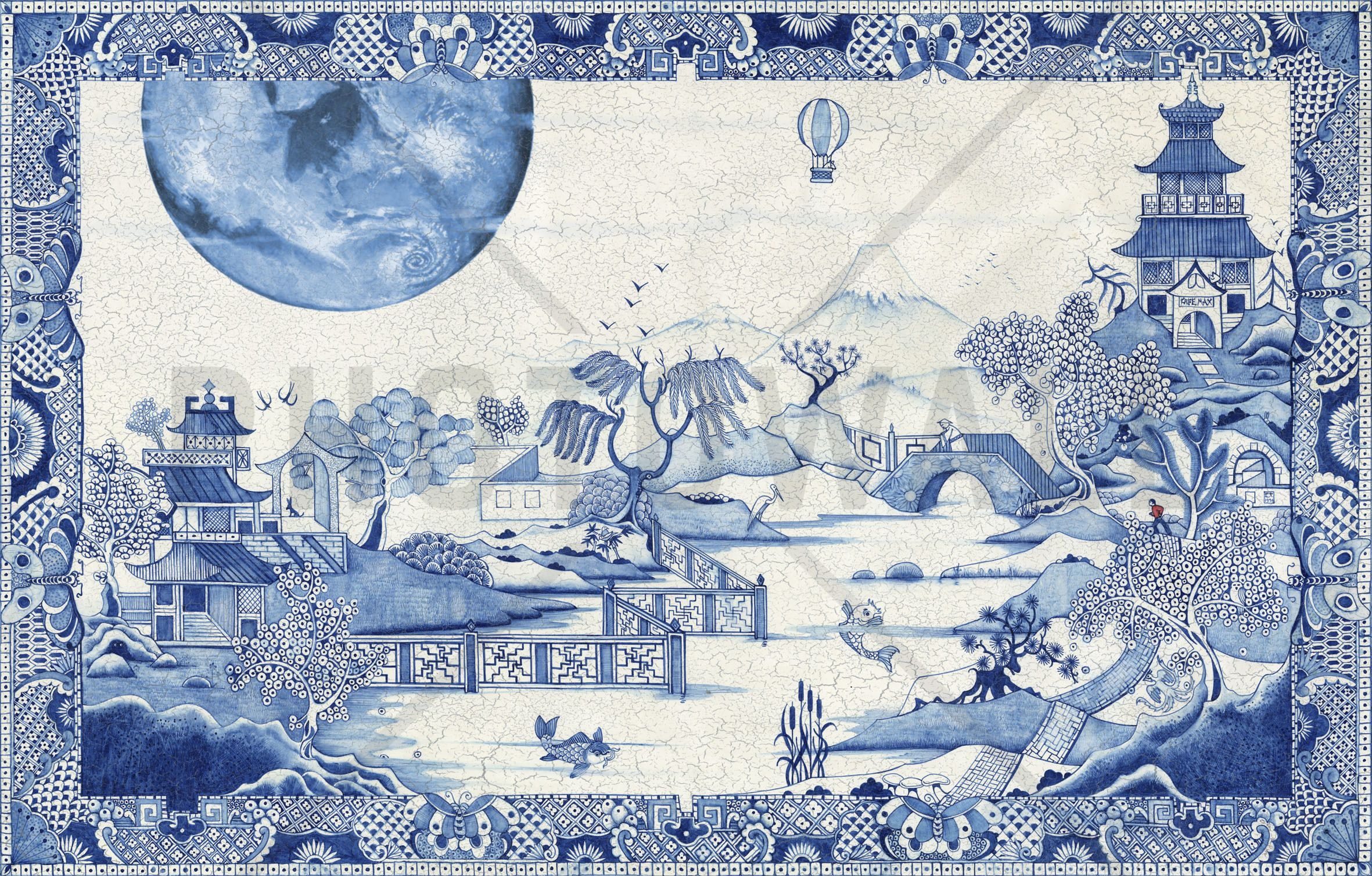 Blue moon crazed wall mural u photo wallpaper photowall dream