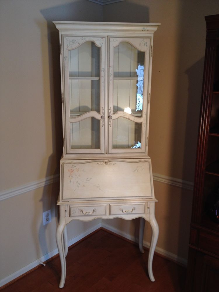 Ethan Allen Country French Wood Secretary Desk Hutch Josephine Side Chair Ethlen Frenchcountry