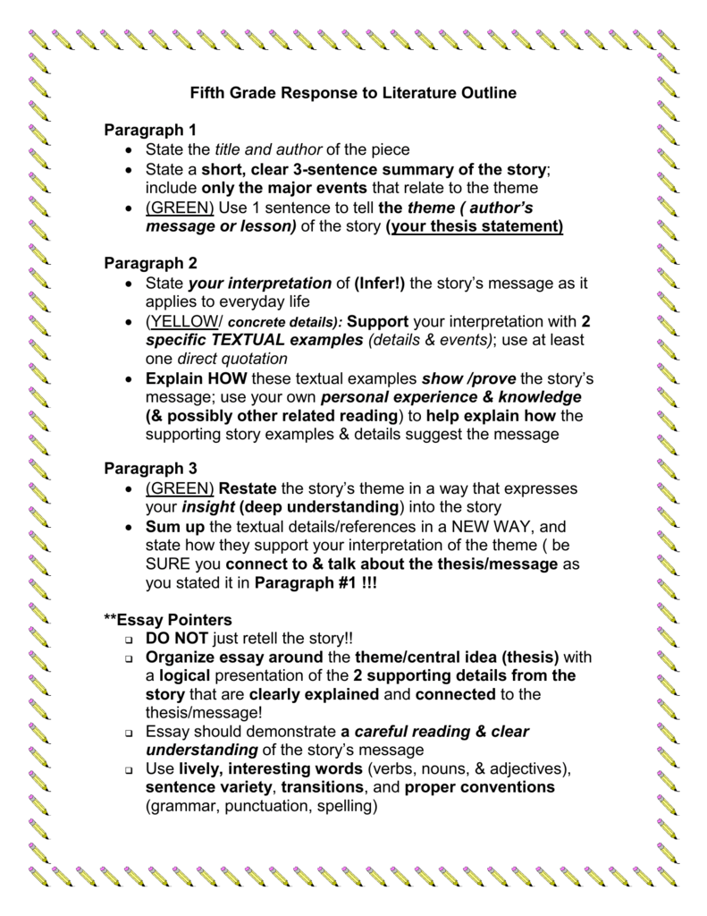 Fifth Grade Response To Literature Outline Essay Prompt Teaching Writing Essays