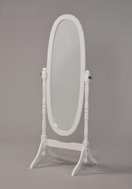 Wooden Cheval Floor Mirror, White Finish