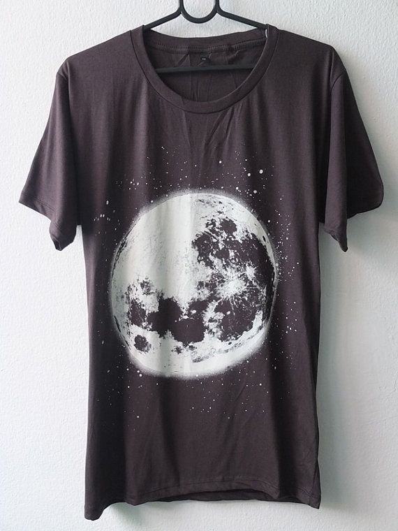 Moon Star Cluster Galaxy Universe Sci-Fiction Pop T-Shirt  S