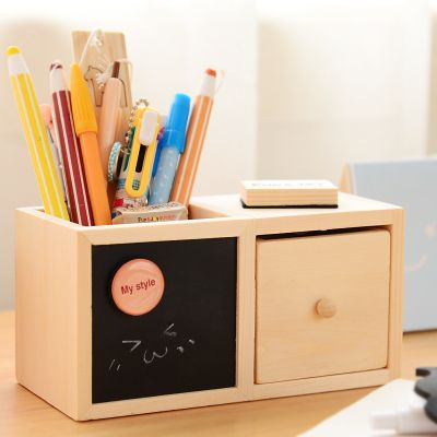 Korean Multifuncitonal Desktop Pencil Holders Office Accessories Wooden Desk  Organizer For Pens/Pencils In