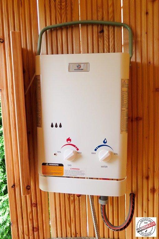 Gartendusche mit Warmwasser vom Gasdurchlauferhitzer