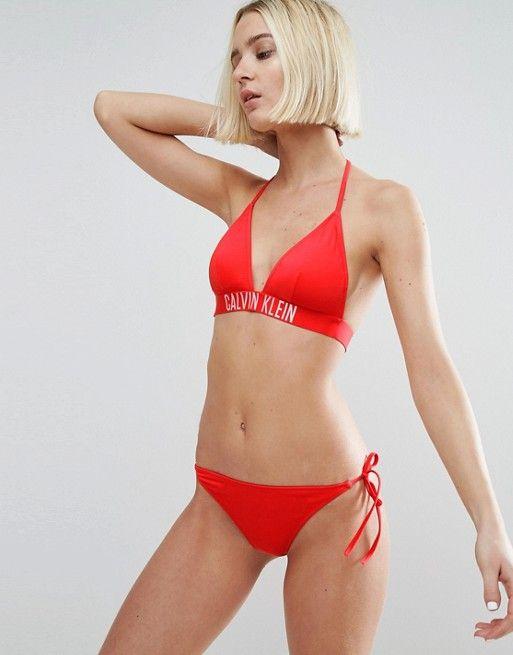 ddbe2087e2 Calvin Klein Logo Fixed Triangle Bikini Top