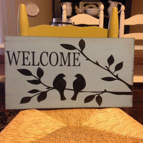 Welcome Sign With Birds On Tree Branch Primitive Rustic Style Wood Sign On Etsy 34 99 Wood Signs Home Decor Rustic Wood Signs Crafts
