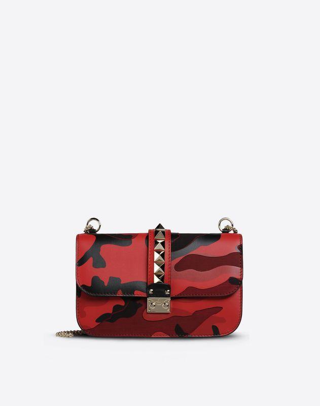 Valentino Logo detail, Camouflage design, Framed closure, Internal zip pocket, Metallic straps,