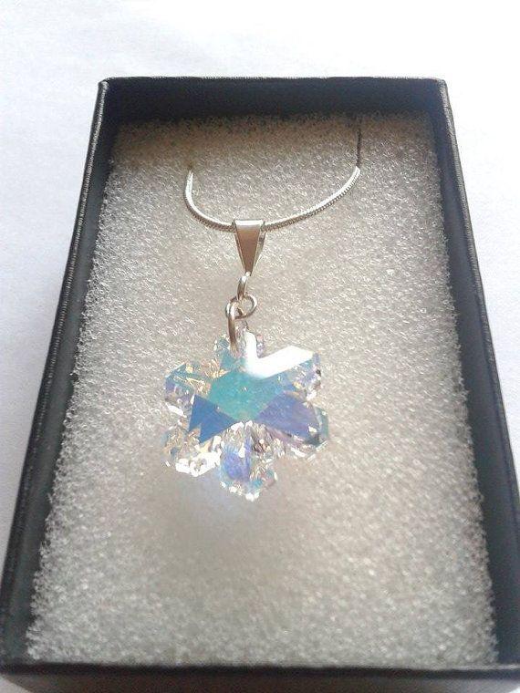 Swarovski Crystal Snowflake Pendant Christmas by TwinklePlanet, £10.00
