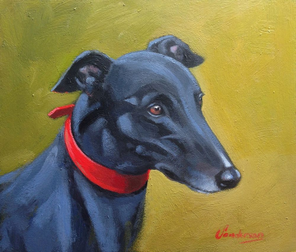 Mounting Options Available Greyhound Whippet Lurcher art print painting poster