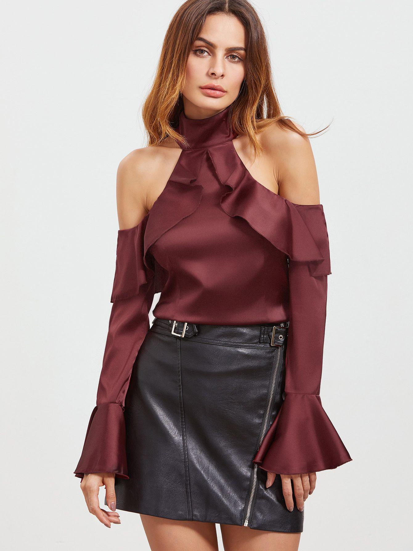 2e7f010203f887 Burgundy Cold Shoulder Bell Sleeve Zipper Back Ruffle Top -SheIn(Sheinside)
