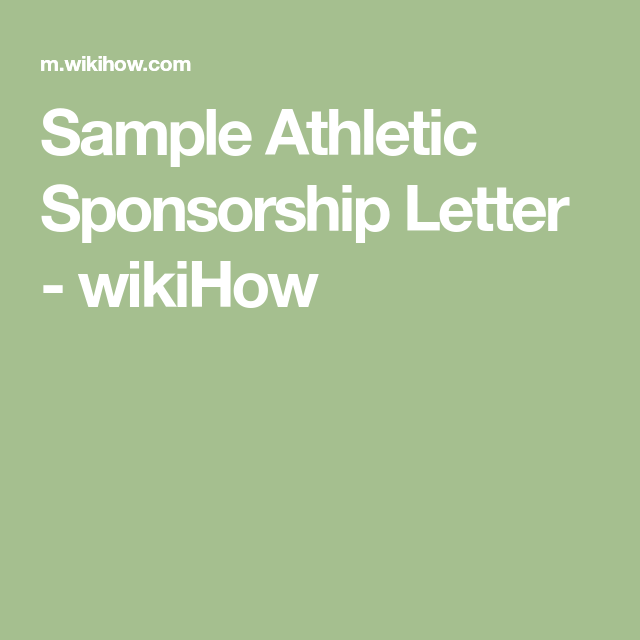 Sample Athletic Sponsorship Letter  Wikihow  Color Run