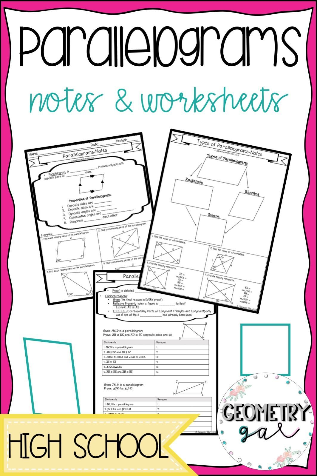 Parallelograms Guided Notes And Worksheets