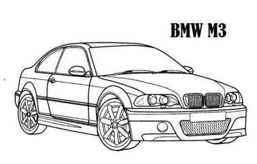 high performance bmw car m3 models coloring sheet