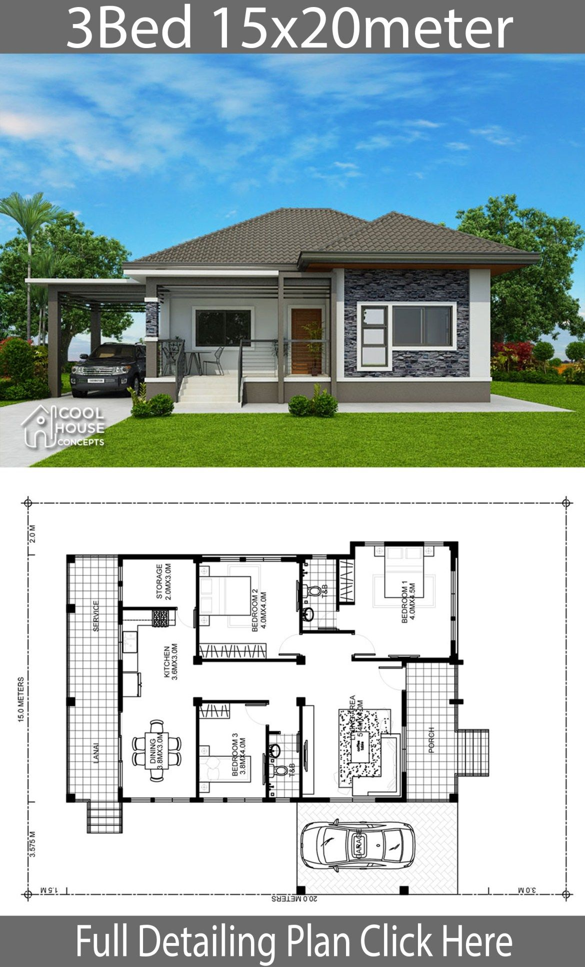 Home Design Plan 15x20m With 3 Bedrooms Home Planssearch