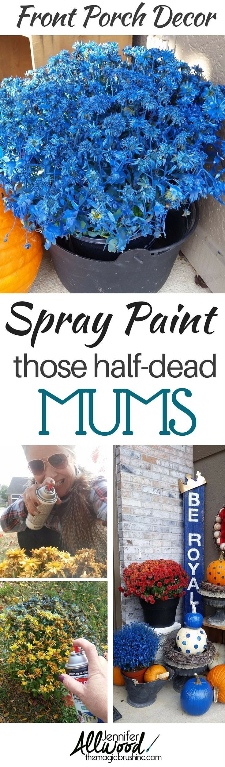 Since those mums are half dying ... why not spray paint them and show your support for your favorite sports team!?! Beautiful baseball front porch decor. Go Royals! Love your biggest fan, theMagicBrushinc.com #diy #howto #diyhomedecor #fall #falldecor #porch #pallet #pumpkin #pumpkinseverywhere