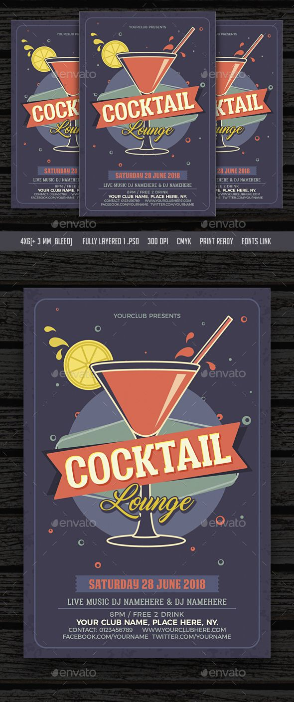 Cocktail Lounge Flyer  Flyer Template Template And Serif