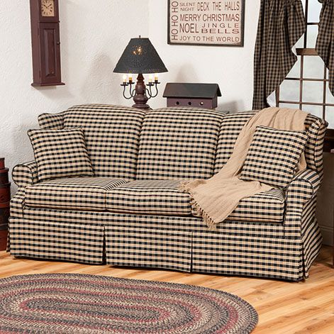 Heritage Sofa Featured In Churchill Black With Tan Fabric