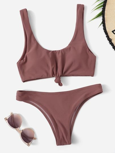 15470617c5e87 Knot Front Top With Low Rise Bikini Set | Colorful Tops|Two-piece ...