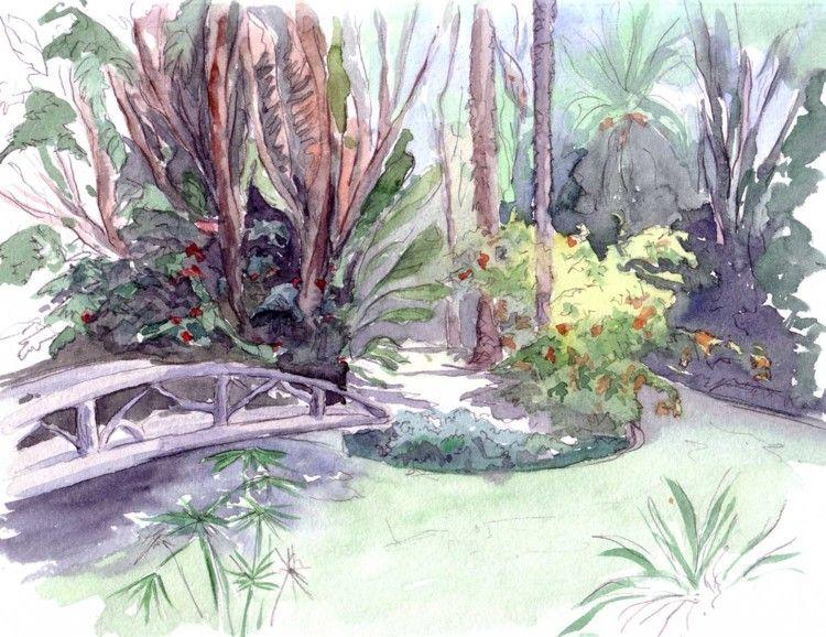 Le Jardin Anglais Et L Ile Peinture 30x20 Cm C 2011 Par Catherine