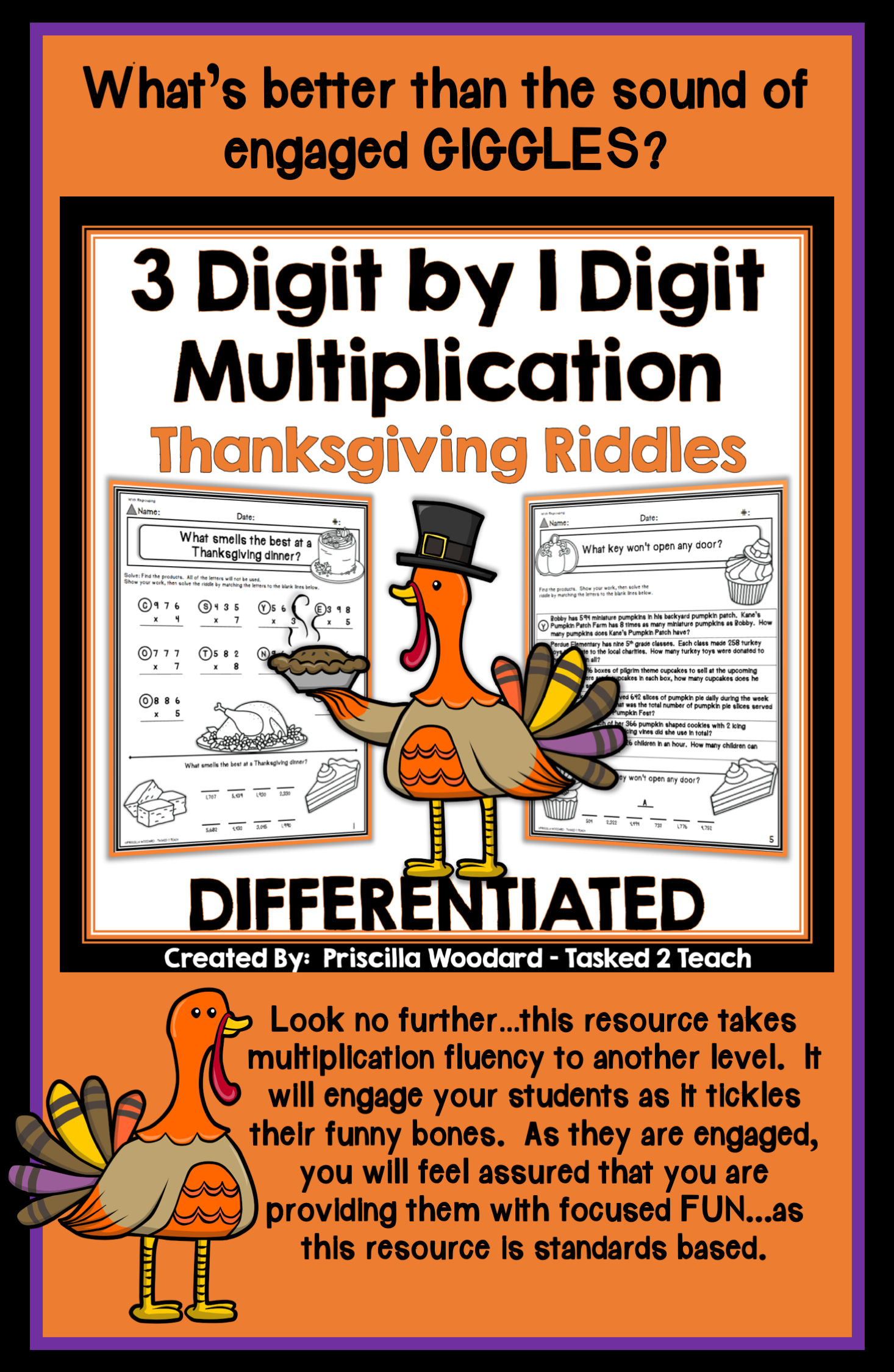 3 Digit By 1 Digit Multiplication Thanksgiving Theme