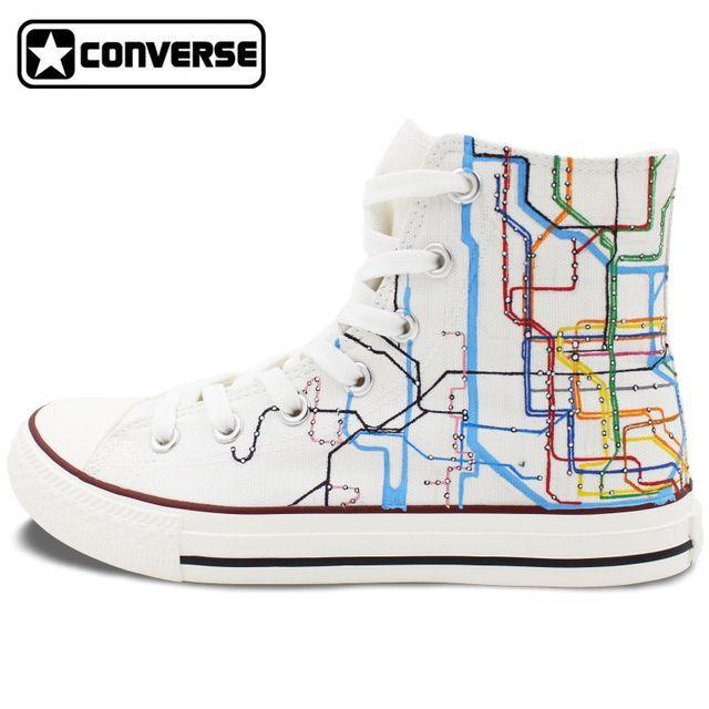 1e4656d447e1 Custom Converse Metro de Nueva York Mapa de Ruta Zapatos Pintados A Mano de  Alta Top Zapatillas de Lona Hombres Mujeres Regalos de Navidad