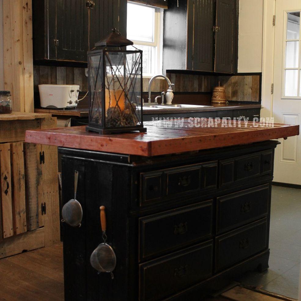 Reclaimed Dresser Kitchen Island With Pallet