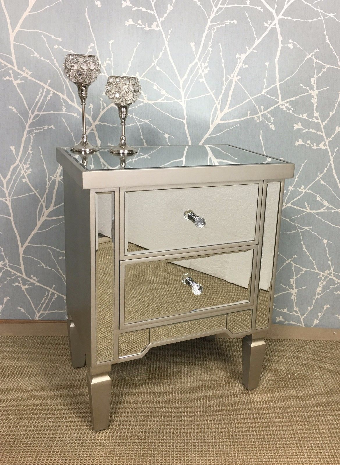 Mirrored Bedside Table With Drawers: Details About Georgia Luxe Champagne Gold Mirrored 2