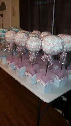 Centros De Mesas Bombones Rosas Para Bautizo Niña Party